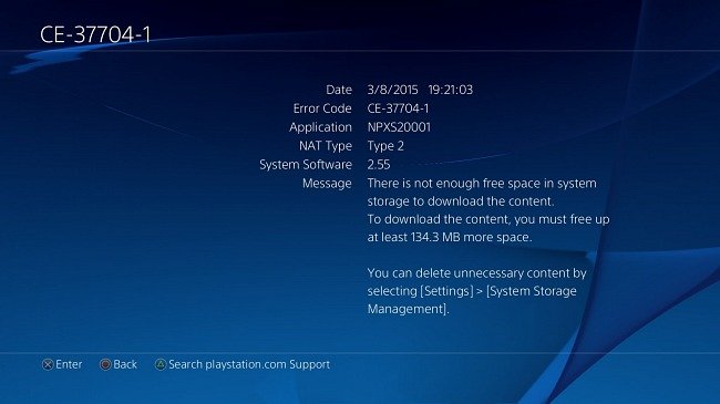 """One problem with PS4 and """"hard disk full"""" begins to spread"""