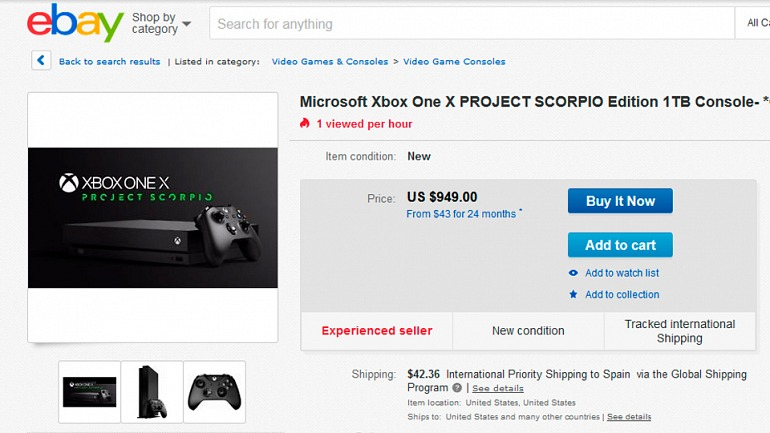 Xbox One X - Scorpio dispara su precio en la reventa: 1.000 dólares